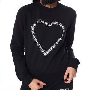 Love Moschino Rhinestone Heart Pullover Sweatshirt